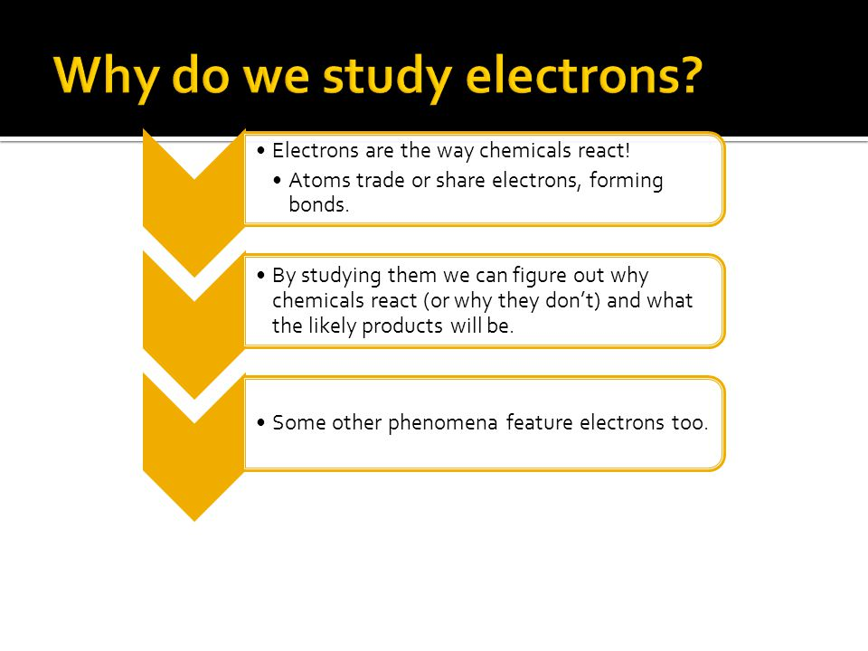 Electrons are the way chemicals react.Atoms trade or share electrons, forming bonds.