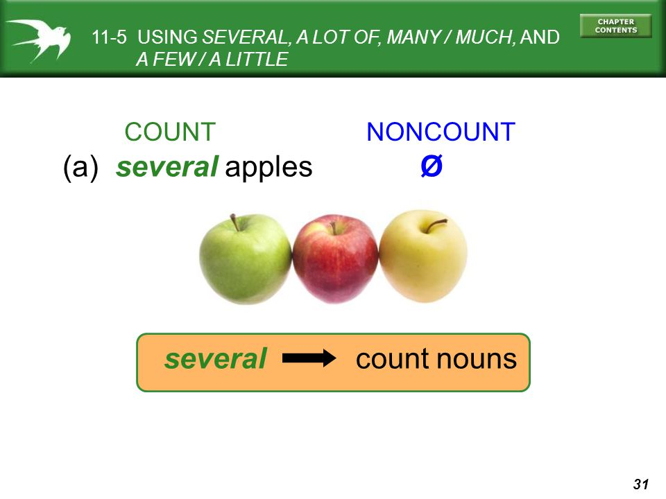 31 several count nouns COUNT NONCOUNT (a) several applesØ 11-5 USING SEVERAL, A LOT OF, MANY / MUCH, AND A FEW / A LITTLE