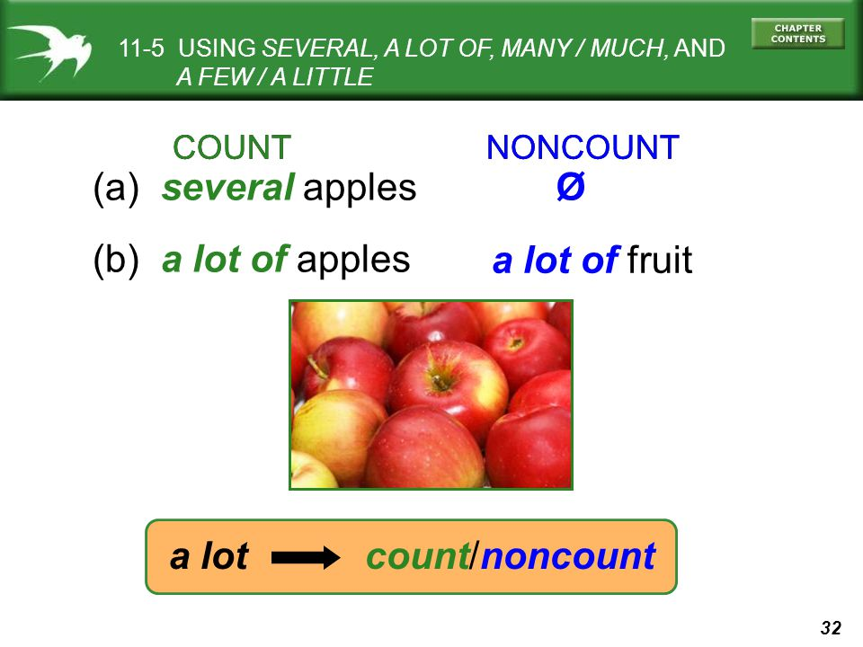 32 COUNT NONCOUNT (a) several apples (b) a lot of apples Ø a lot of fruit a lot count/noncount 11-5 USING SEVERAL, A LOT OF, MANY / MUCH, AND A FEW / A LITTLE