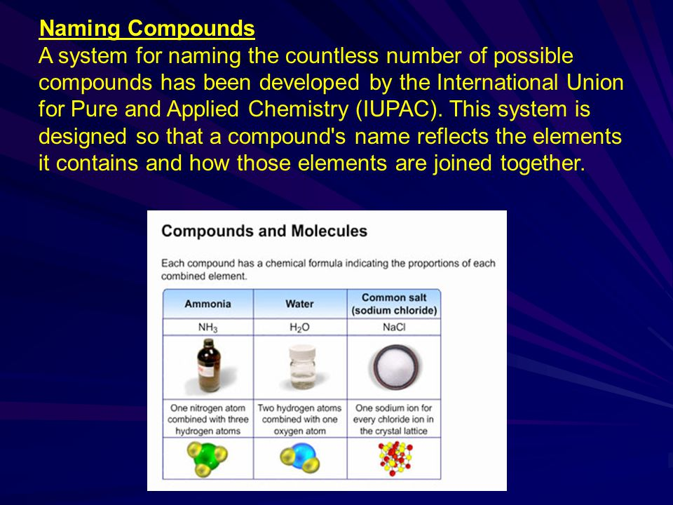 Naming Compounds A system for naming the countless number of possible compounds has been developed by the International Union for Pure and Applied Che