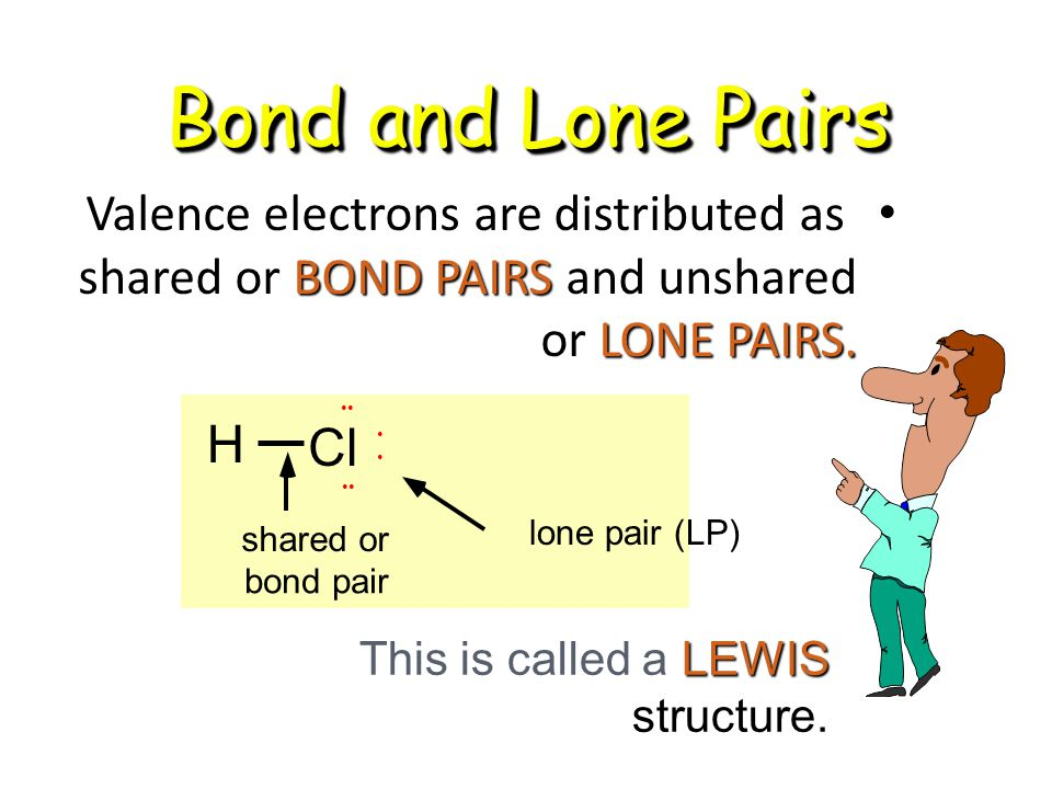 Bond and Lone Pairs Valence electrons are distributed as shared or BOND PAIRS and unshared or LONE PAIRS. Valence electrons are distributed as shared