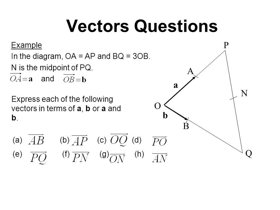 (a) (b) (c) (d) (e) (f) (g) (h) Vectors Questions Example In the diagram, OA = AP and BQ = 3OB.