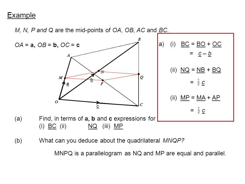 M, N, P and Q are the mid-points of OA, OB, AC and BC.