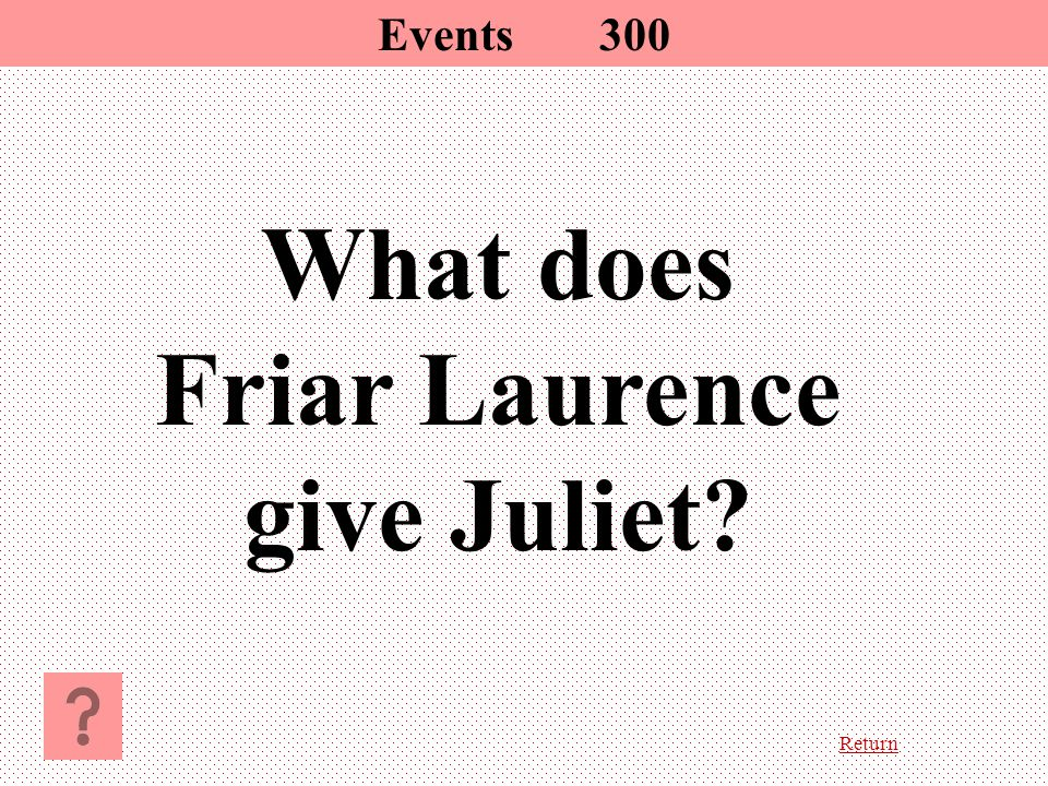 Return What does Friar Laurence give Juliet Events 300