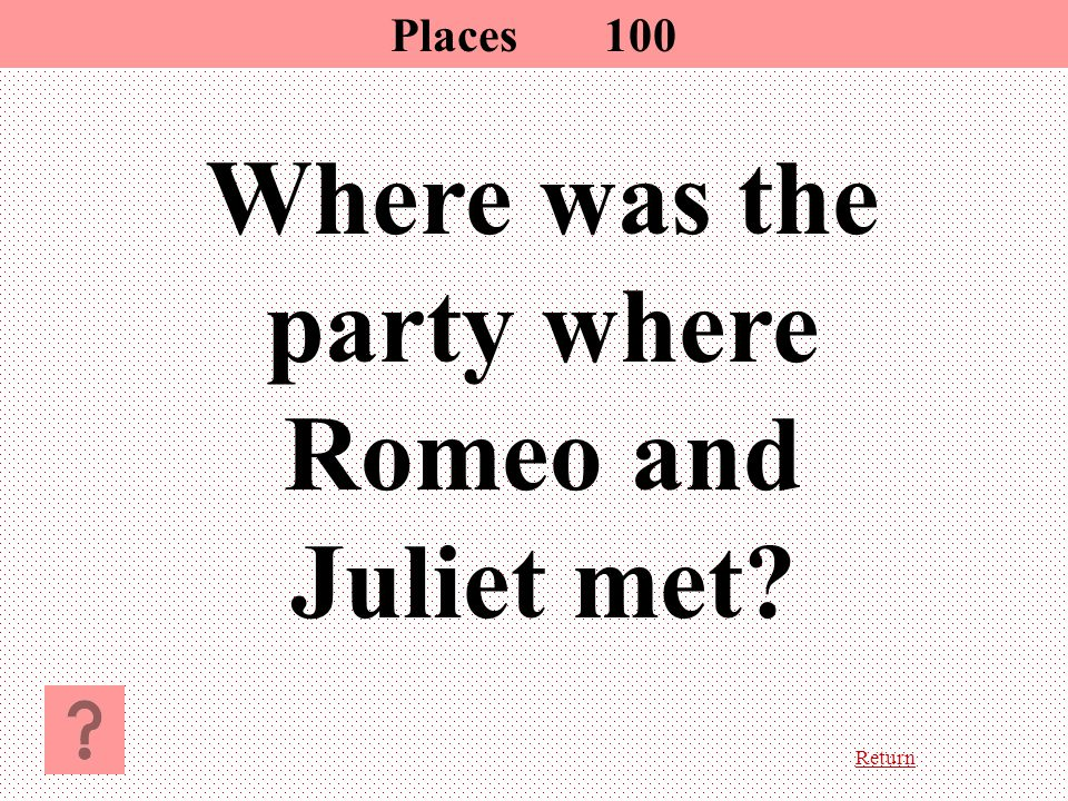 Return Where was the party where Romeo and Juliet met Places100