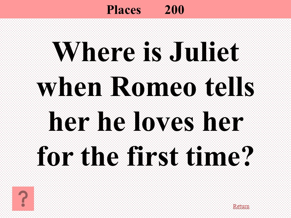 Return Where is Juliet when Romeo tells her he loves her for the first time? Places200