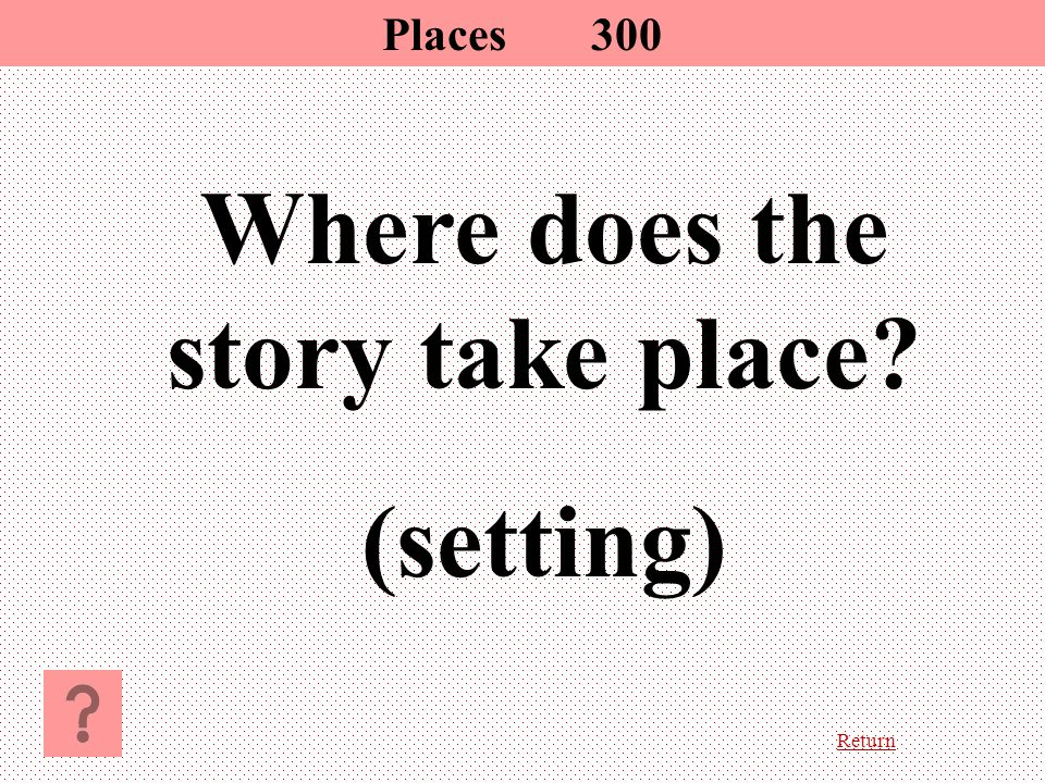 Return Where does the story take place? (setting) Places300