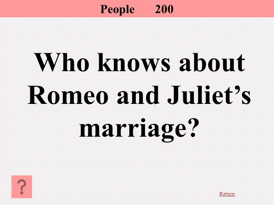 Return Quotes: Who Said It? 300 Romeo: about the party at the Capulets