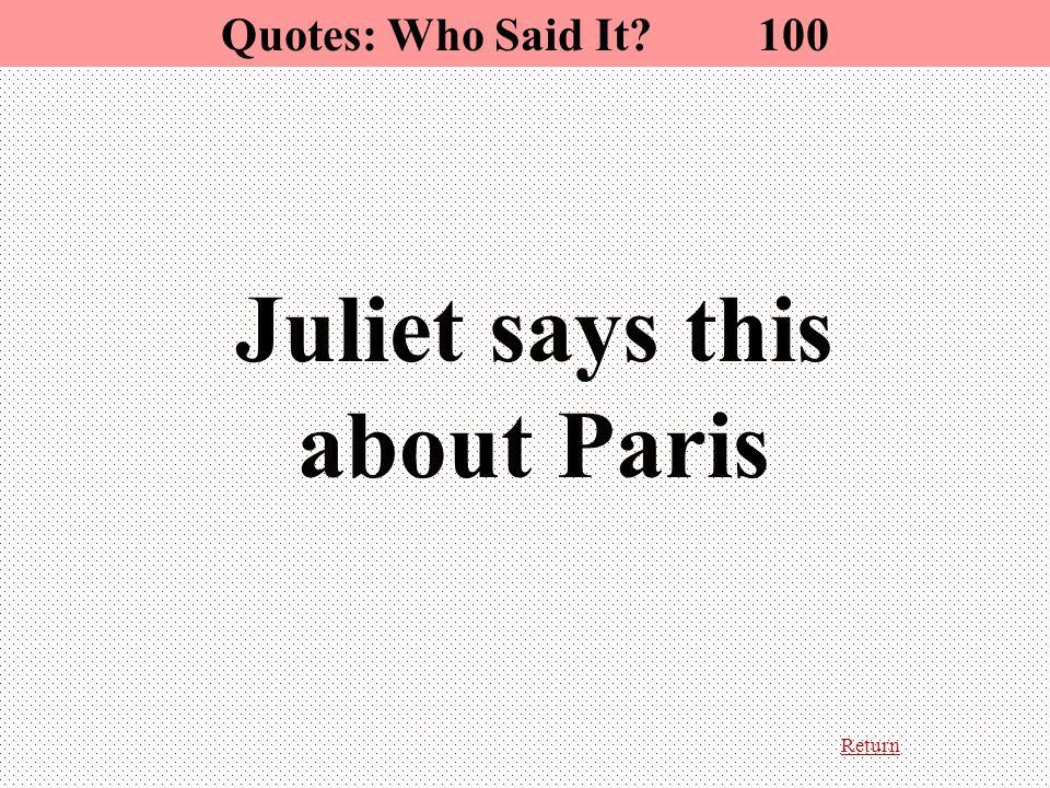 Return Juliet says this about Paris Quotes: Who Said It? 100