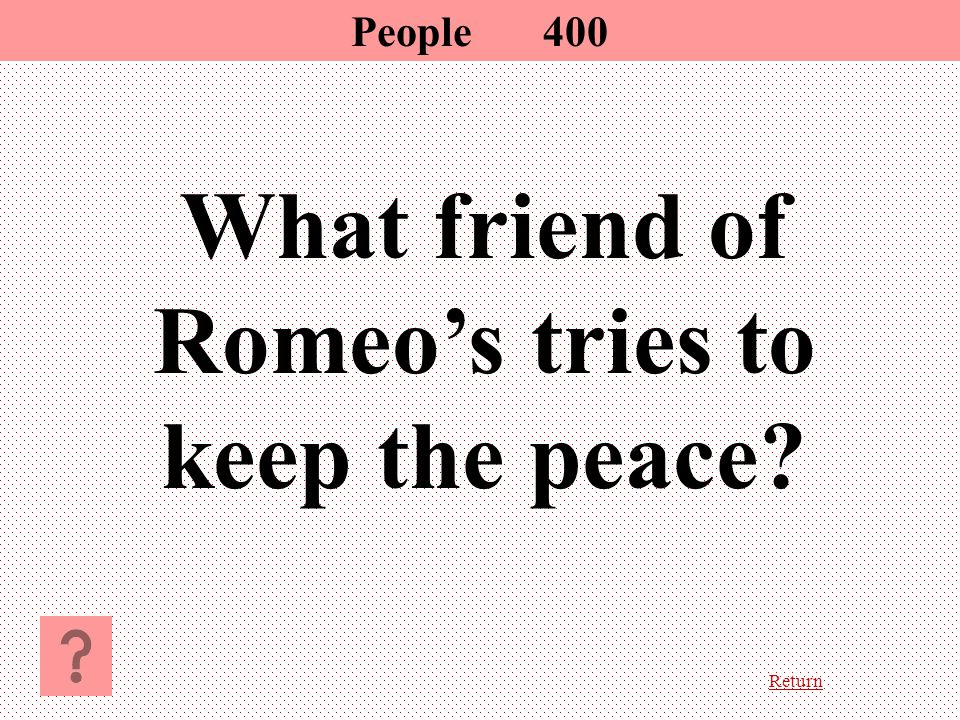 Return What friend of Romeo's tries to keep the peace? People 400