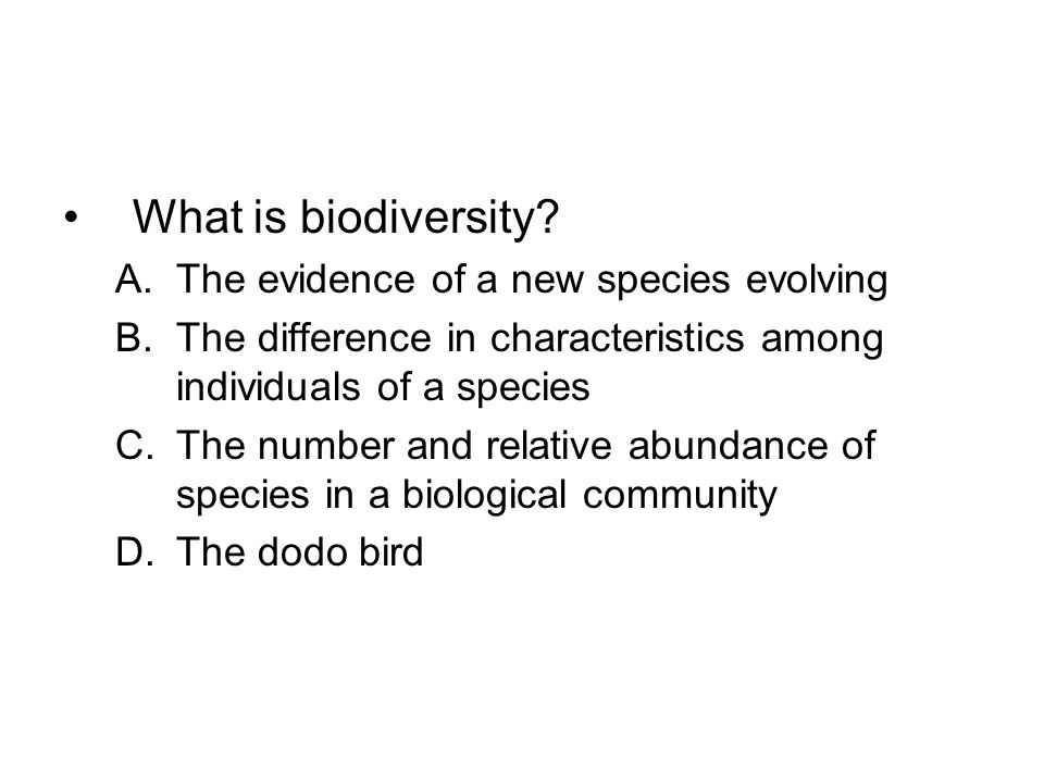 What is biodiversity? A.The evidence of a new species evolving B.The difference in characteristics among individuals of a species C.The number and rel