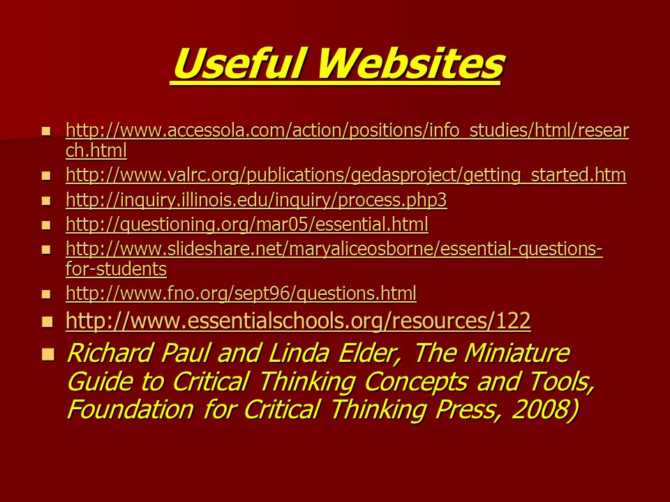 Useful Websites http://www.accessola.com/action/positions/info_studies/html/resear ch.html http://www.accessola.com/action/positions/info_studies/html