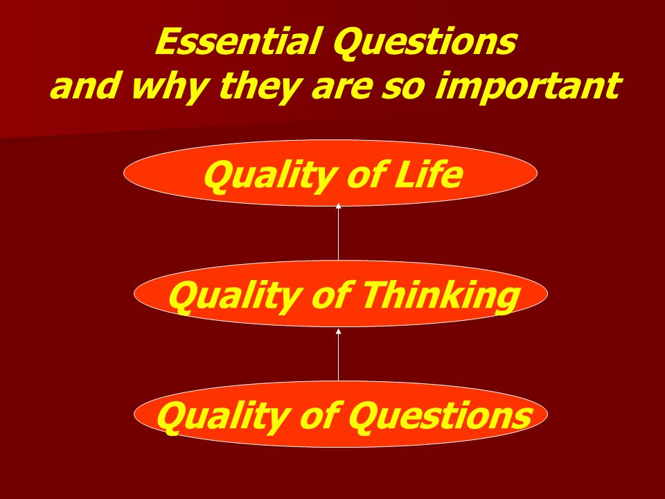 Essential Questions and why they are so important Quality of Life Quality of Thinking Quality of Questions
