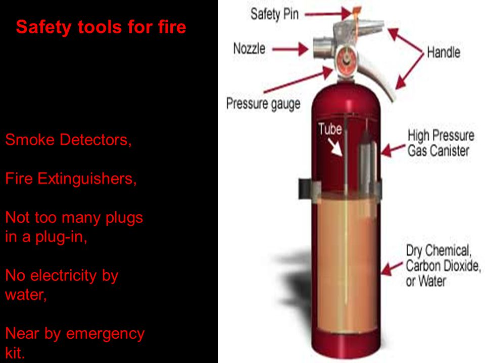 Safety tools for fire Smoke Detectors, Fire Extinguishers, Not too many plugs in a plug-in, No electricity by water, Near by emergency kit.
