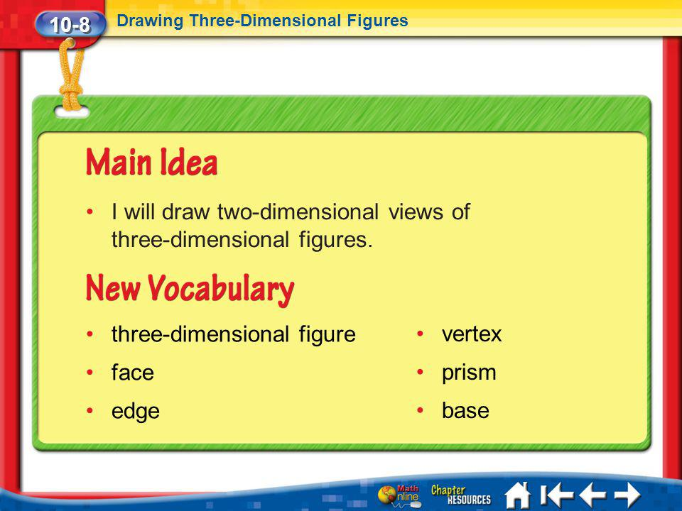 10-8 Drawing Three-Dimensional Figures Lesson 8 MI/Vocab I will draw two-dimensional views of three-dimensional figures. three-dimensional figure face