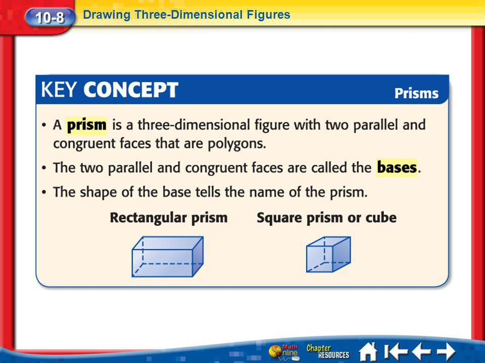 Lesson 8 Key Concept 10-8 Drawing Three-Dimensional Figures