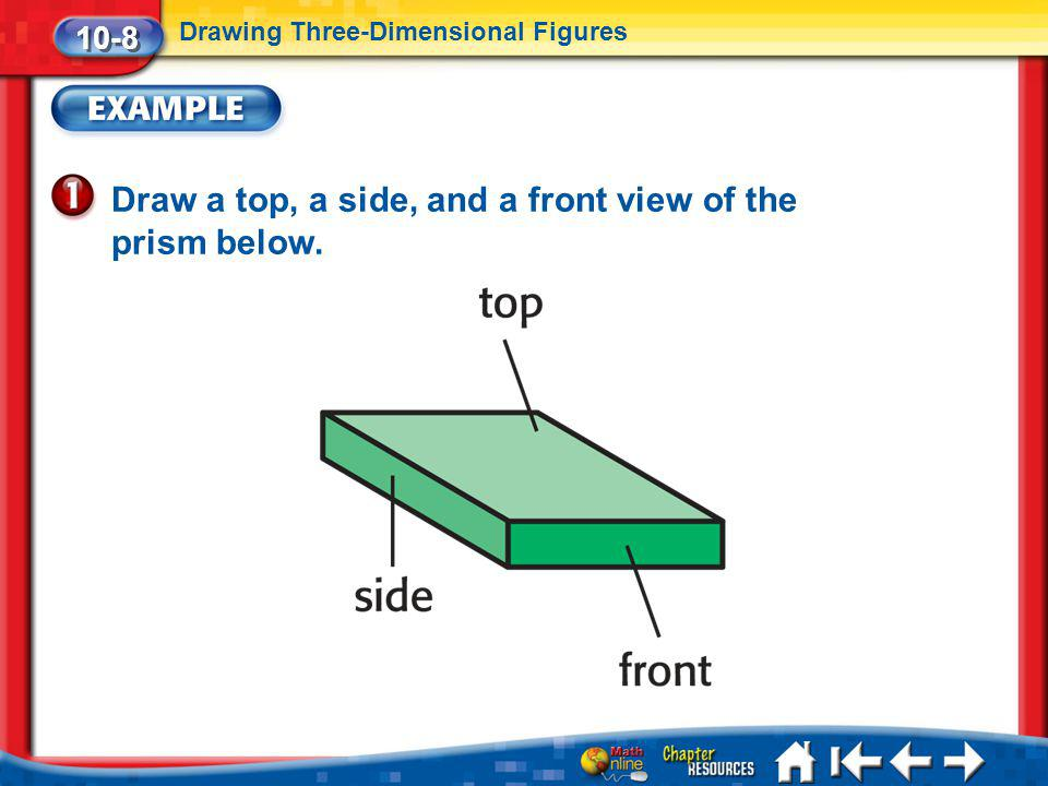 Lesson 8 Ex1 Draw a top, a side, and a front view of the prism below. 10-8 Drawing Three-Dimensional Figures