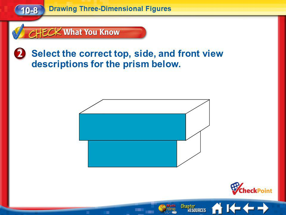 Lesson 8 CYP2 10-8 Drawing Three-Dimensional Figures Select the correct top, side, and front view descriptions for the prism below.