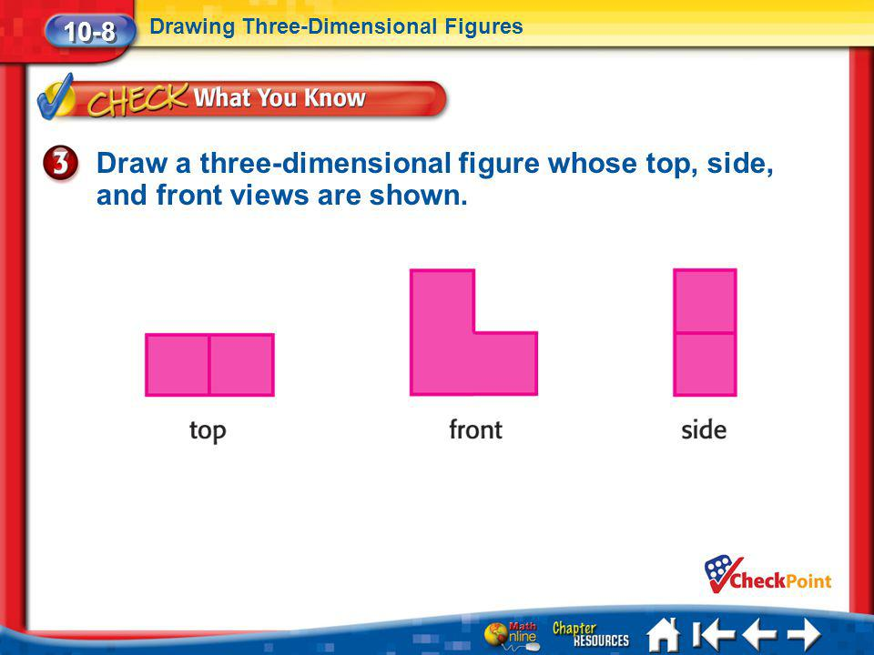 Lesson 8 CYP3 Draw a three-dimensional figure whose top, side, and front views are shown. 10-8 Drawing Three-Dimensional Figures