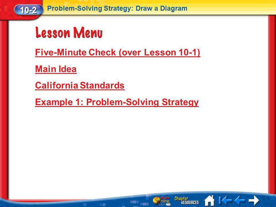 Lesson 2 Menu Five-Minute Check (over Lesson 10-1) Main Idea California Standards Example 1: Problem-Solving Strategy 10-2 Problem-Solving Strategy: D
