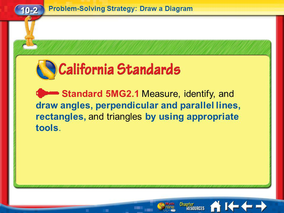 10-2 Problem-Solving Strategy: Draw a Diagram Lesson 2 Standard 1 Standard 5MG2.1 Measure, identify, and draw angles, perpendicular and parallel lines