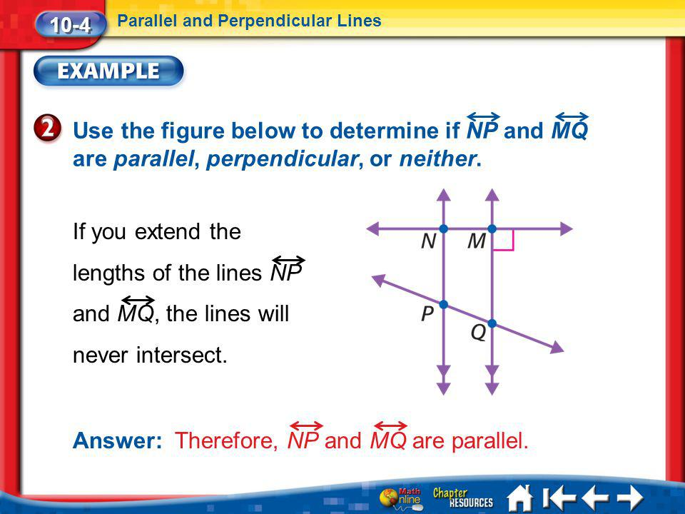 Lesson 4 Ex2 10-4 Parallel and Perpendicular Lines Use the figure below to determine if NP and MQ are parallel, perpendicular, or neither. If you exte