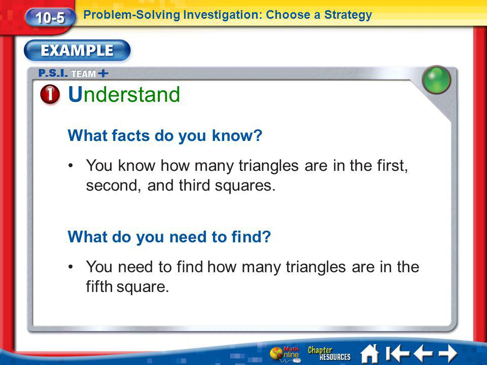 Lesson 5 Ex1 Understand What facts do you know? You know how many triangles are in the first, second, and third squares. What do you need to find? You