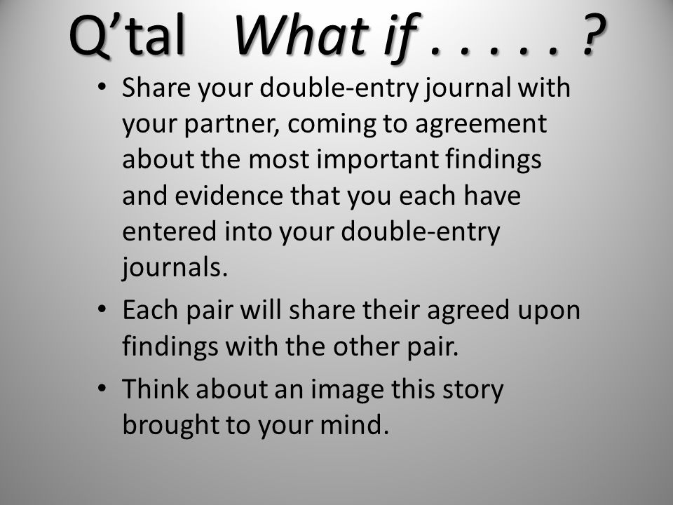 Share your double-entry journal with your partner, coming to agreement about the most important findings and evidence that you each have entered into your double-entry journals.
