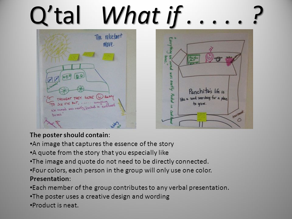 The poster should contain: An image that captures the essence of the story A quote from the story that you especially like The image and quote do not need to be directly connected.