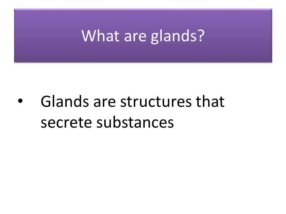 What are glands? Glands are structures that secrete substances