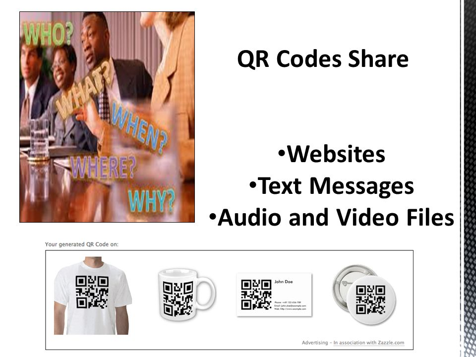 QR Codes Share Websites Text Messages Audio and Video Files
