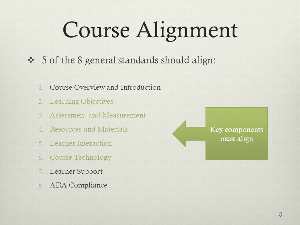Course Alignment  5 of the 8 general standards should align: 1. Course Overview and Introduction 2. Learning Objectives 3. Assessment and Measurement