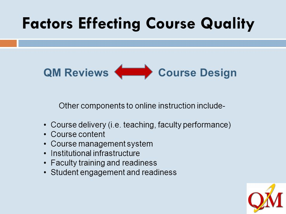 Factors Effecting Course Quality QM Reviews Course Design Other components to online instruction include- Course delivery (i.e. teaching, faculty perf