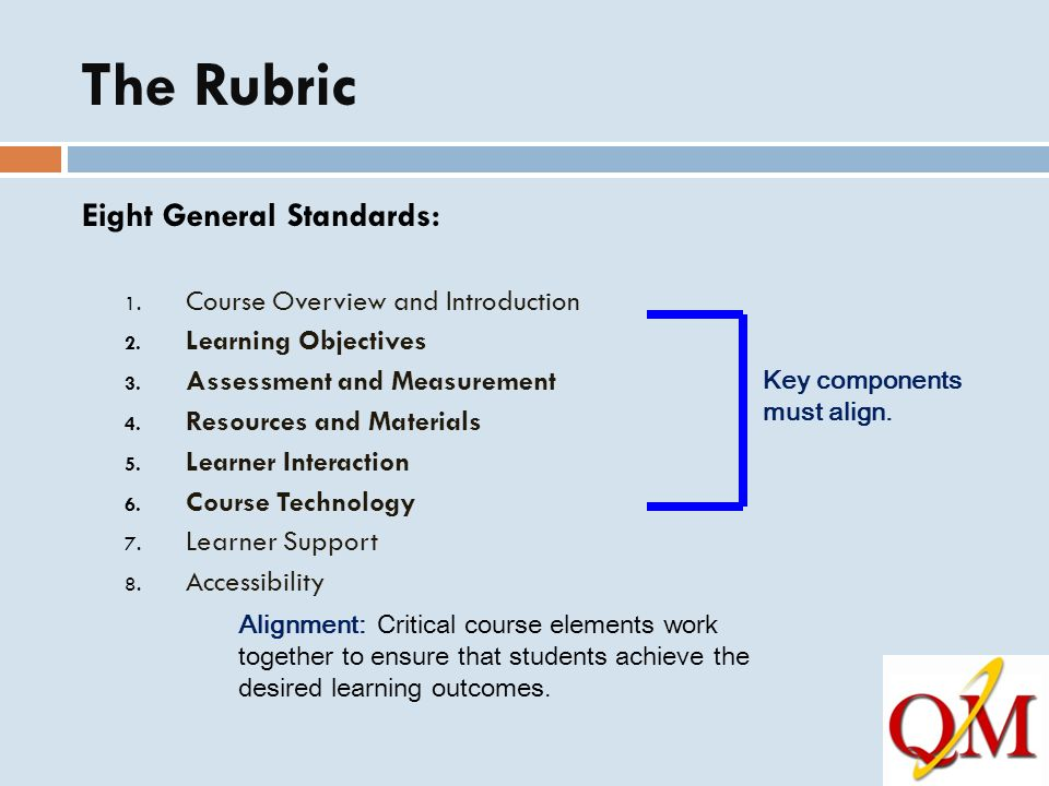 The Rubric Eight General Standards: 1.Course Overview and Introduction 2.