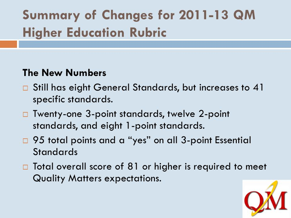 Summary of Changes for 2011-13 QM Higher Education Rubric The New Numbers  Still has eight General Standards, but increases to 41 specific standards.