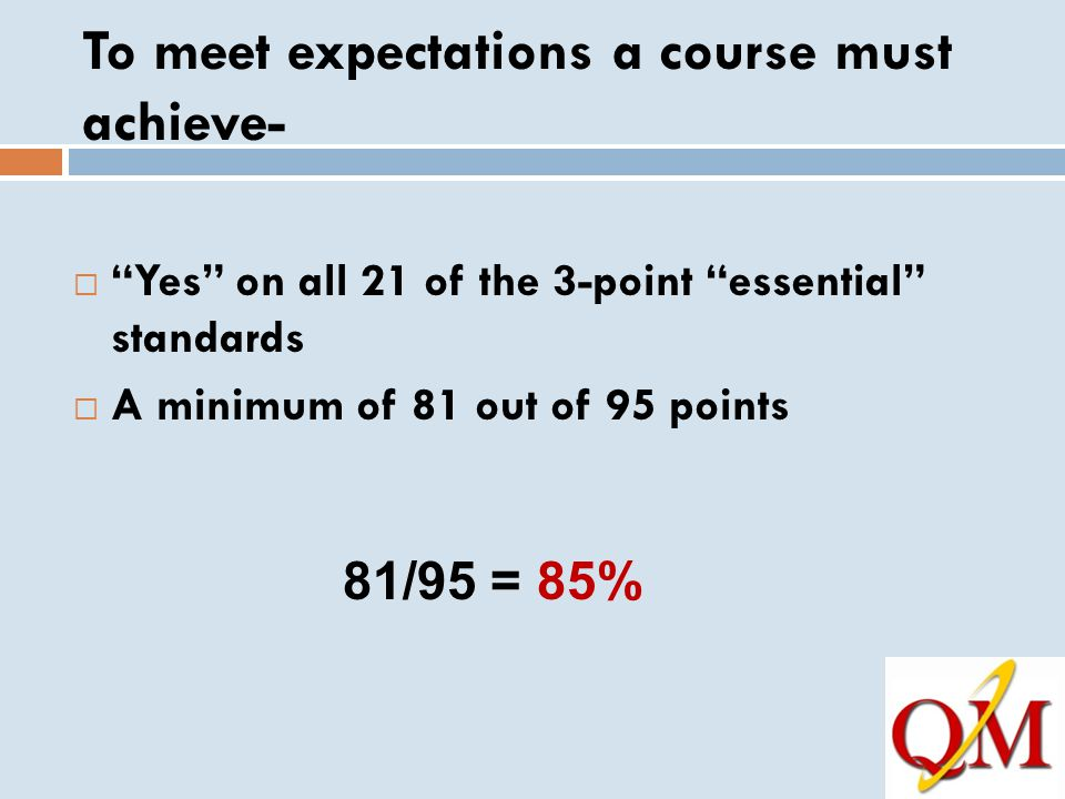 To meet expectations a course must achieve-  Yes on all 21 of the 3-point essential standards  A minimum of 81 out of 95 points 81/95 = 85%