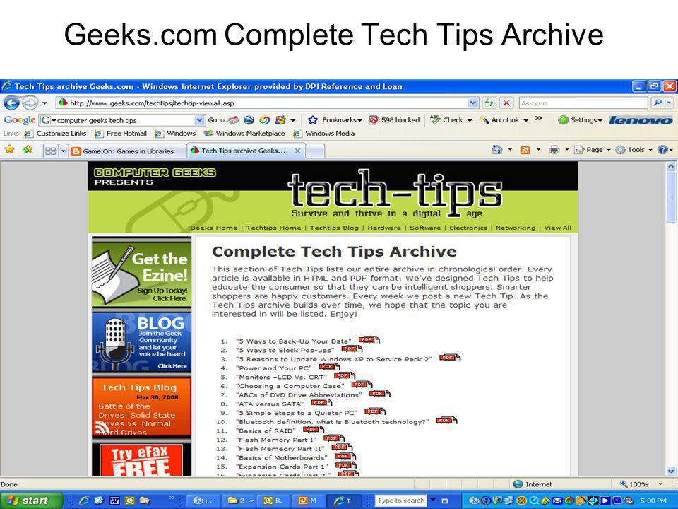 Geeks.com Complete Tech Tips Archive