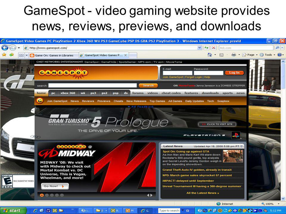 GameSpot - video gaming website provides news, reviews, previews, and downloads