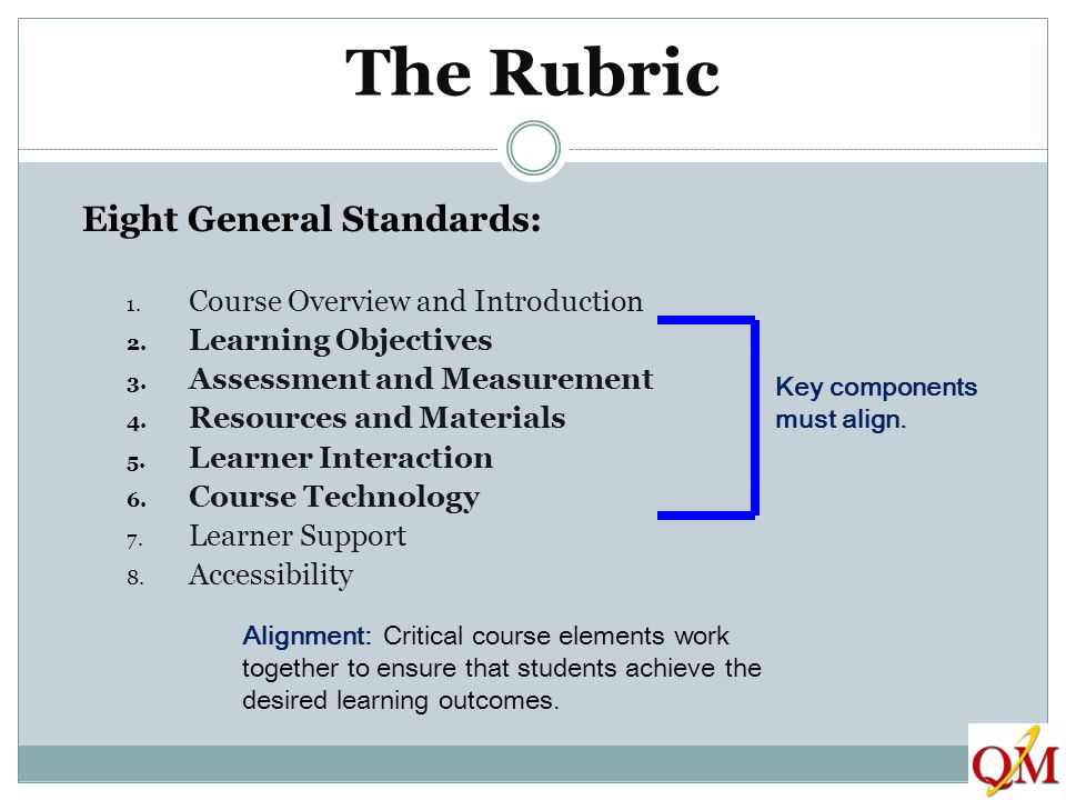 The Rubric Eight General Standards: 1. Course Overview and Introduction 2. Learning Objectives 3. Assessment and Measurement 4. Resources and Material
