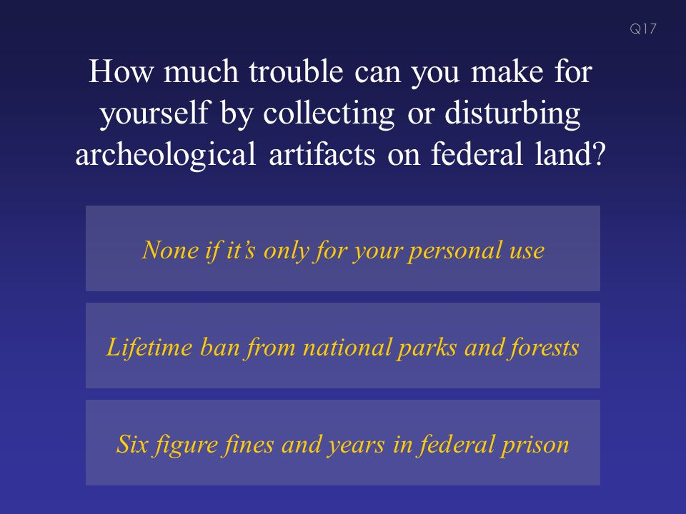 How much trouble can you make for yourself by collecting or disturbing archeological artifacts on federal land.