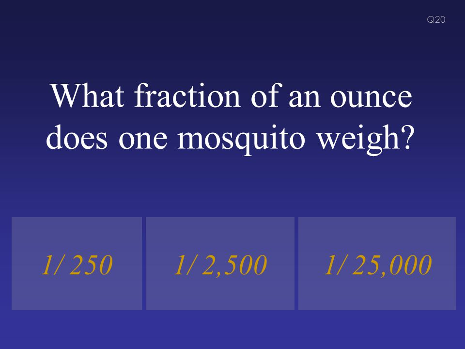 What fraction of an ounce does one mosquito weigh? 1/ 2501/ 25,0001/ 2,500 Q20