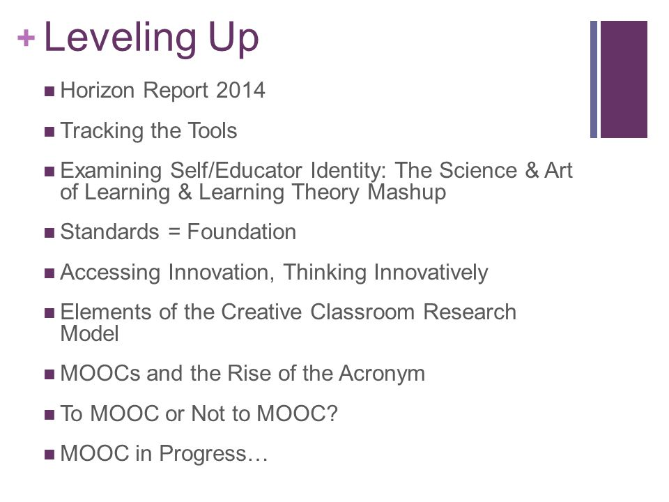 + Leveling Up Horizon Report 2014 Tracking the Tools Examining Self/Educator Identity: The Science & Art of Learning & Learning Theory Mashup Standards = Foundation Accessing Innovation, Thinking Innovatively Elements of the Creative Classroom Research Model MOOCs and the Rise of the Acronym To MOOC or Not to MOOC.
