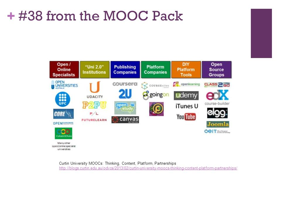 + #38 from the MOOC Pack Curtin University MOOCs: Thinking, Content, Platform, Partnerships http://blogs.curtin.edu.au/odvce/2013/02/curtin-university-moocs-thinking-content-platform-partnerships/