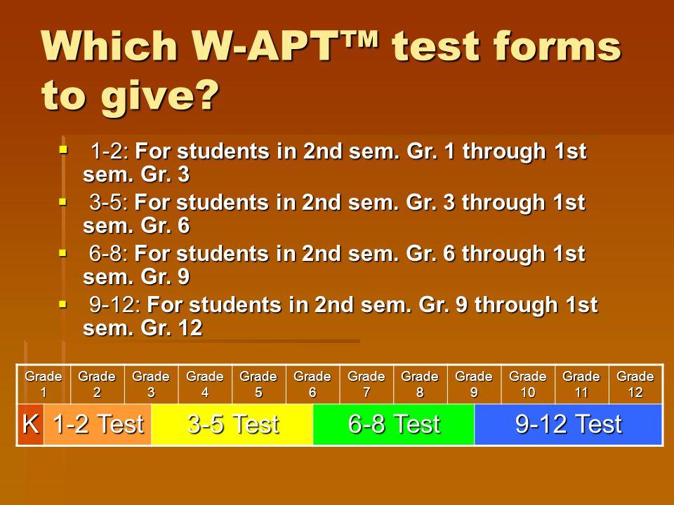 Grade 1 Grade 2 Grade 3 Grade 4 Grade 5 Grade 6 Grade 7 Grade 8 Grade 9 Grade 10 Grade 11 Grade 12 K 1-2 Test 3-5 Test 6-8 Test 9-12 Test  1-2: For s