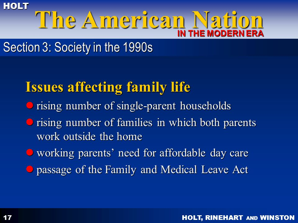 HOLT, RINEHART AND WINSTON The American Nation HOLT IN THE MODERN ERA 17 Issues affecting family life rising number of single-parent households rising