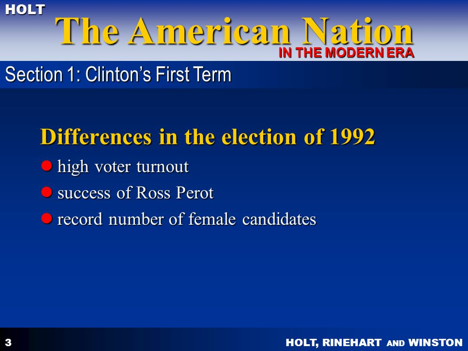 HOLT, RINEHART AND WINSTON The American Nation HOLT IN THE MODERN ERA 3 Differences in the election of 1992 high voter turnout high voter turnout succ