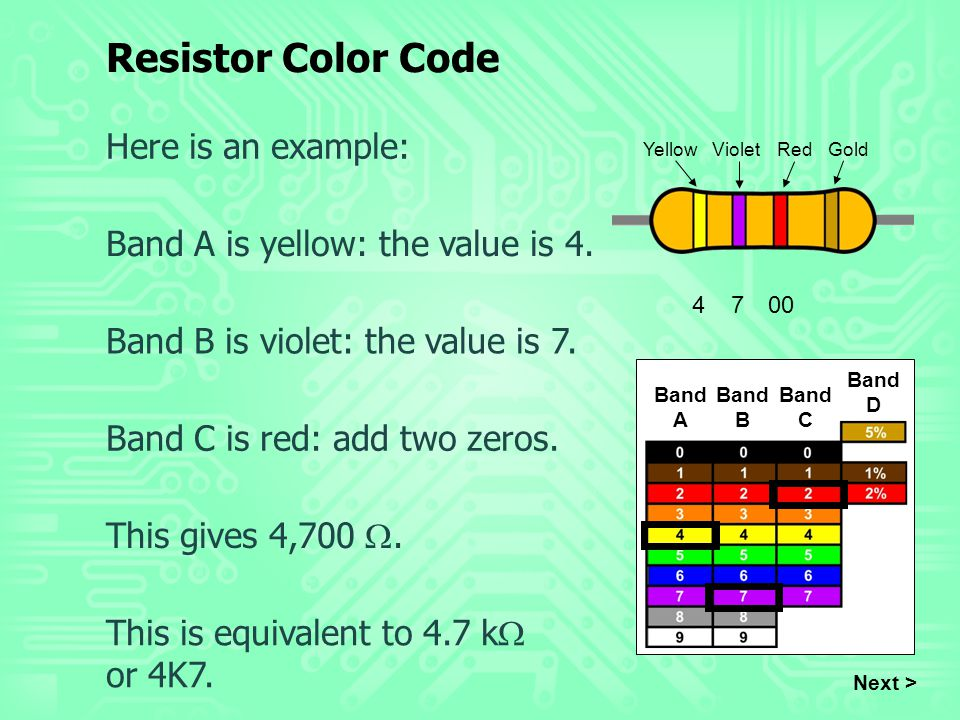 Band A Band B Band C Band D Here is an example: Band A is yellow: the value is 4. Band B is violet: the value is 7. Next > Band C is red: add two zero