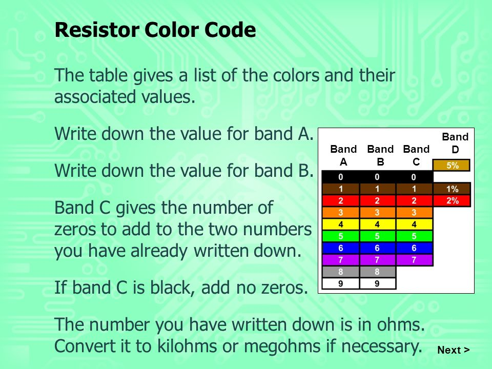 The table gives a list of the colors and their associated values. Write down the value for band A. Write down the value for band B. Next > Band C give