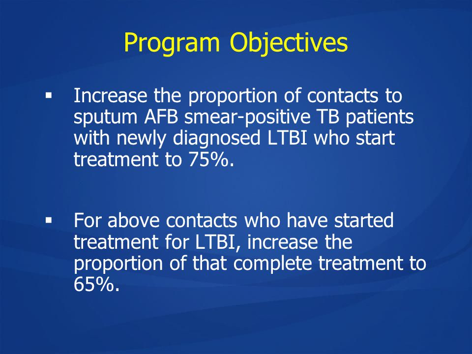 Program Objectives  Increase the proportion of contacts to sputum AFB smear-positive TB patients with newly diagnosed LTBI who start treatment to 75%.