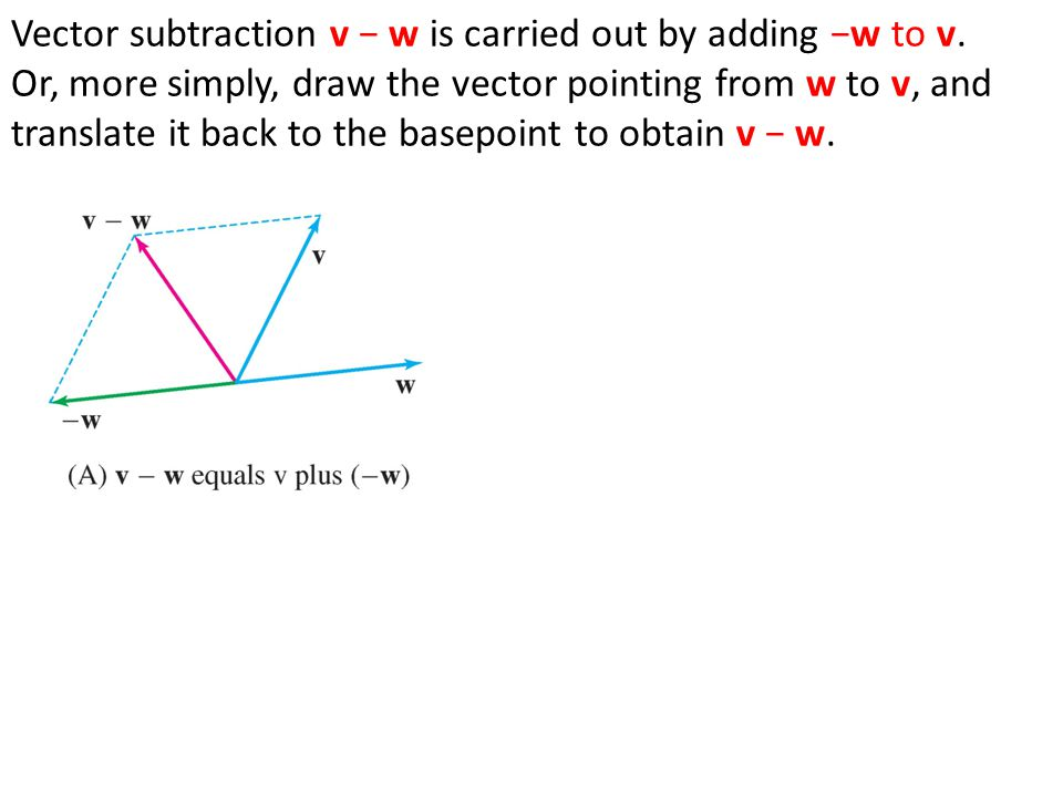 Vector subtraction v − w is carried out by adding −w to v. Or, more simply, draw the vector pointing from w to v, and translate it back to the basepoi